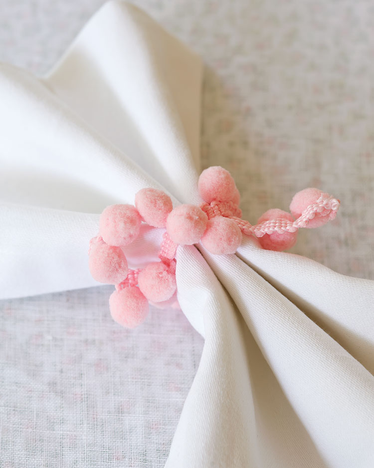 Spring Entertaining ideas, ball fringe napkin ring