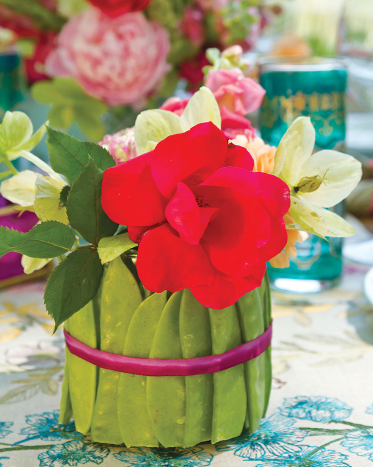 Spring entertaining ideas, pea pod vase