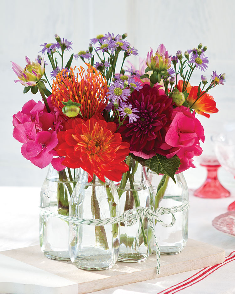 Summer Blooms, bottled bouquets
