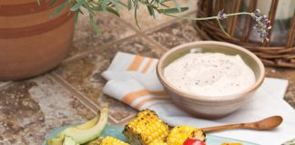 A picture of Grilled Vegetable Crudité with Smoky Parmesan Dip for a Father's Day cookout