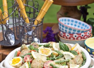 A picture of Pesto Potato Salad with Tomatoes and Haricots Verts for a Father's Day cookout