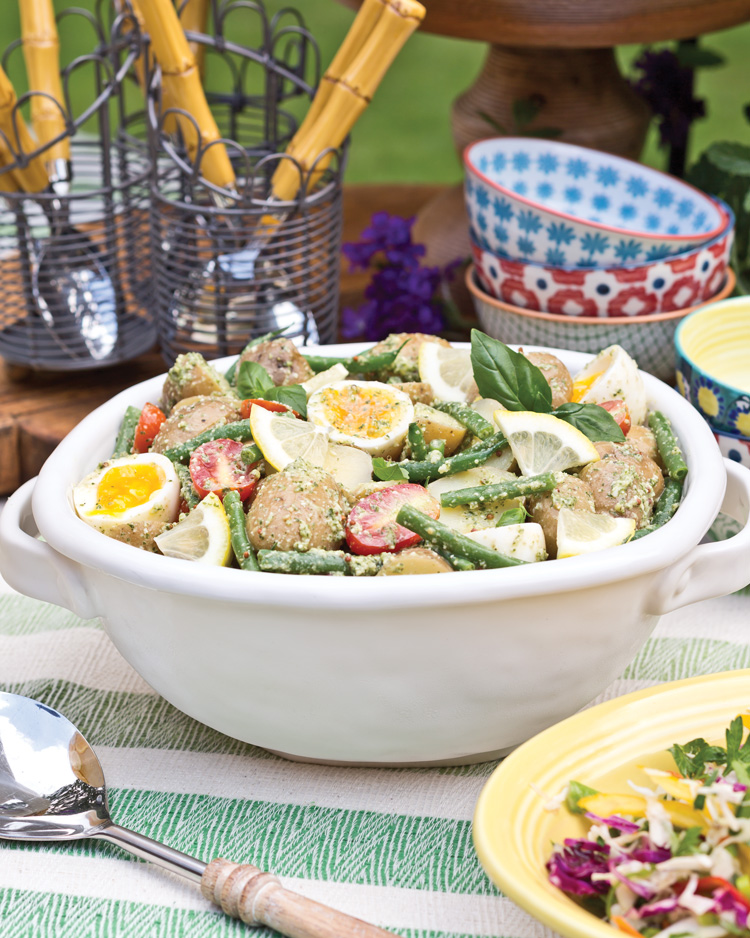 Pesto Potato Salad with Tomatoes and Haricots Verts