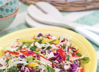 A picture of Tangy Rainbow Slaw for a Father's Day cookout