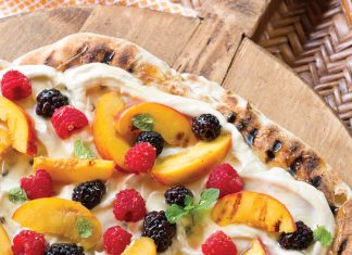 A picture of Grilled Peach and Berry Dessert Pizza for a Father's Day cookout