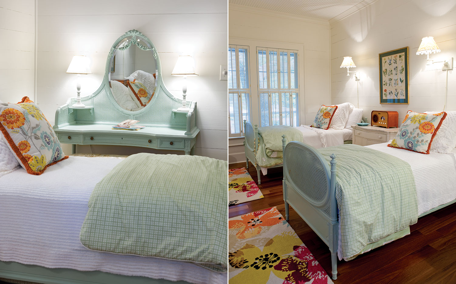 pictures of a guest bedroom with blue and green furniture.