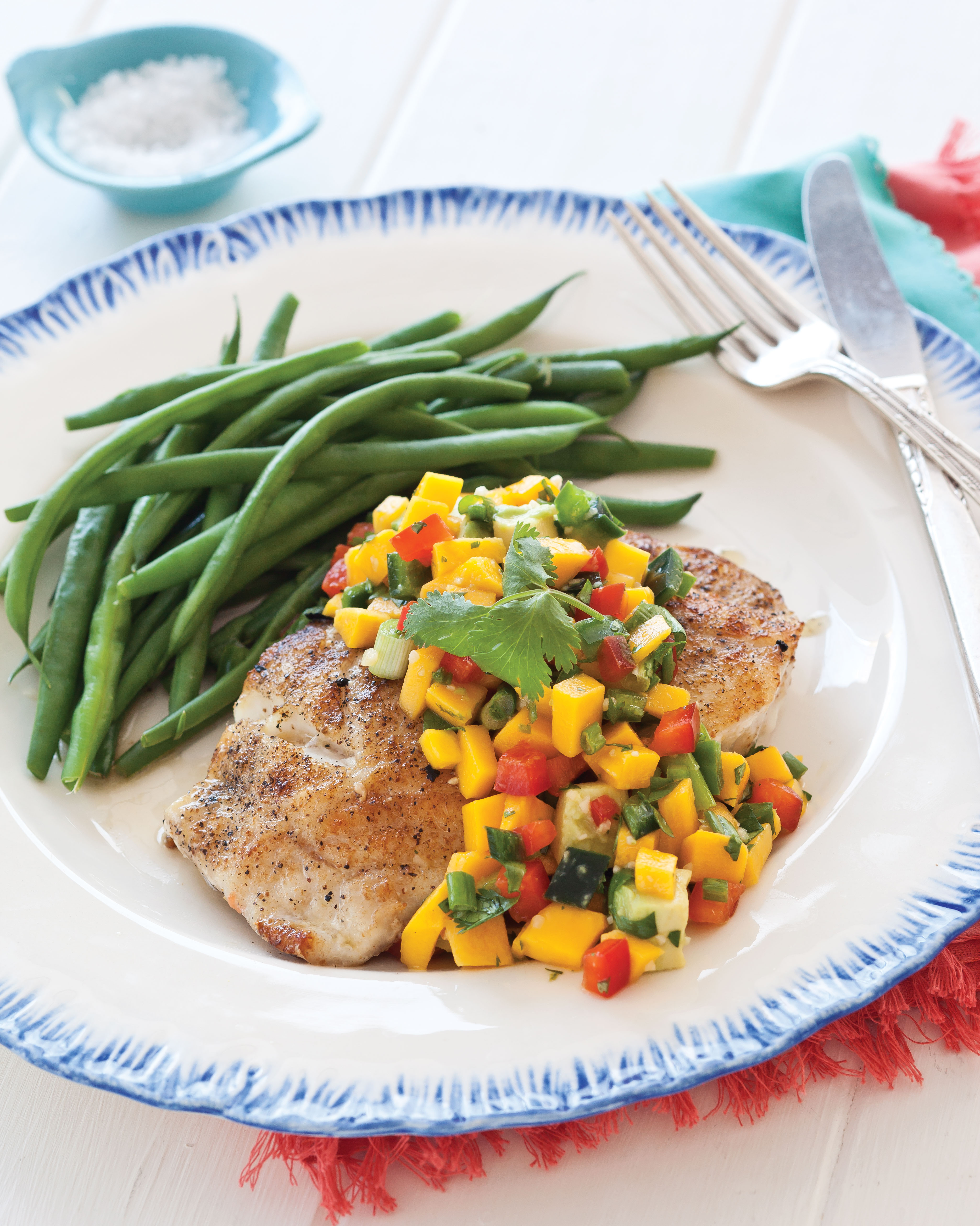 Summer Cookout Recipes, Grilled Grouper with Mango Salsa