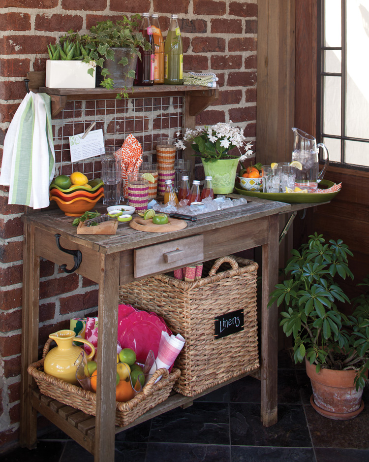 A picture of a garden table turned hostess station
