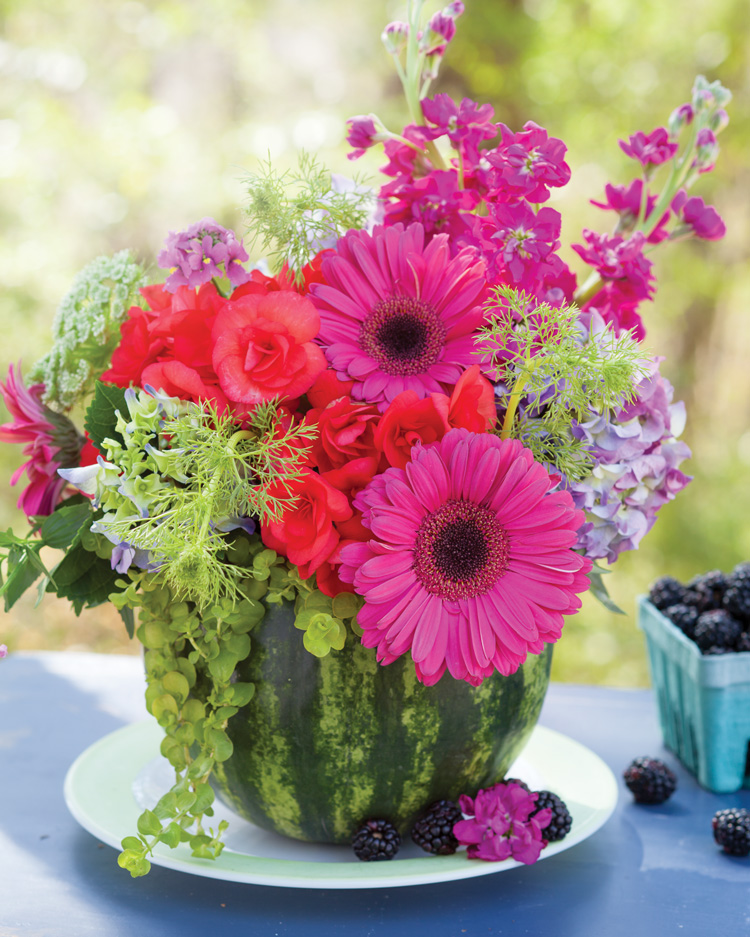 Floral arrangements images Birthday Picture Of Summer Floral Arrangement In Fruitturnedvase Southern Lady Magazine Create Summer Floral Arrangements In Fruit Southern Lady Mag
