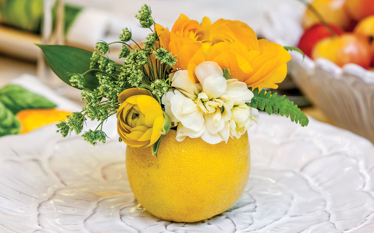 Create summer floral arrangements in fruit southern lady mag Floral arrangements with fruit