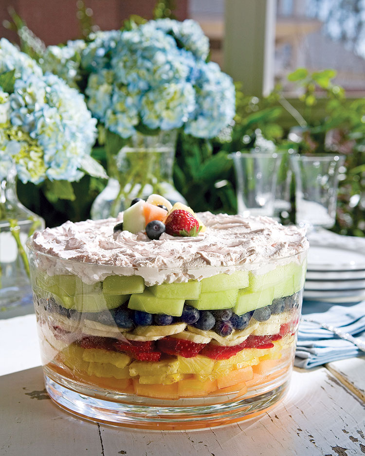a picture of seven layer fruit salad