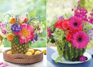 A picture of summer floral arrangements in fruit-turned-vases
