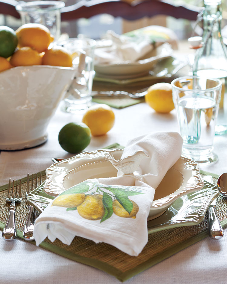 A picture of a casual and easy breezy place setting.