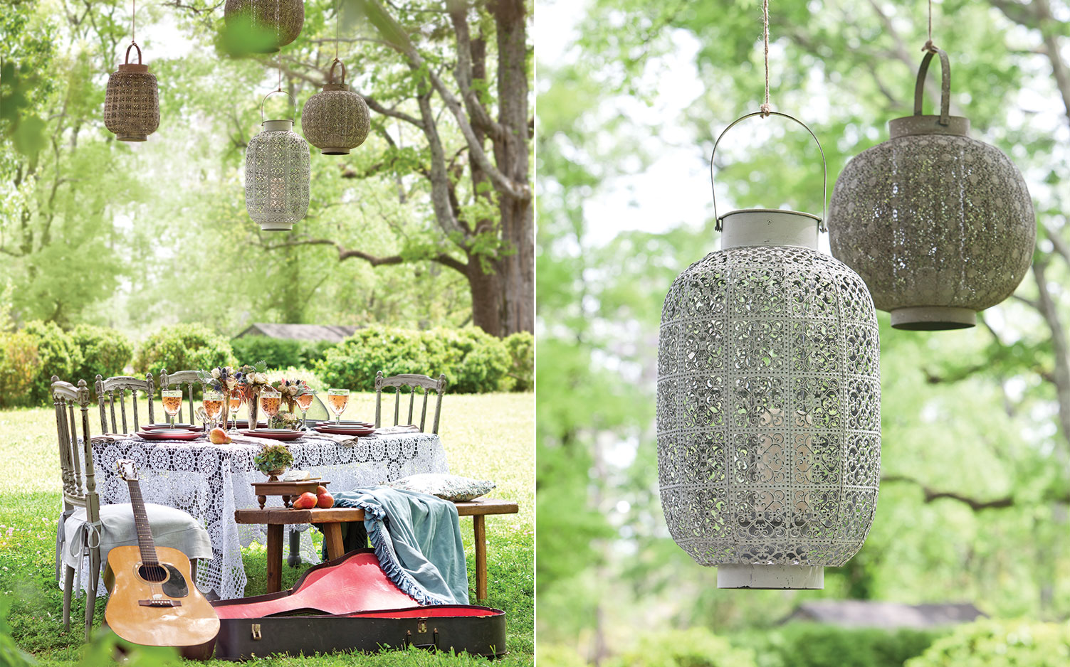 A picture for summer lights for outdoor dining with pierced-tin lanterns.