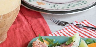 Tuscan meal, prosciutto-wrapped melon