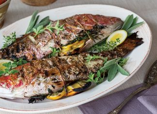Tuscan meal, grilled whole snapper
