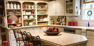 A picture of style and organization inspiration in a kitchen with open shelving