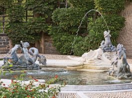 A photo of fountains in Dumbarton Oaks in Georgetown Washington DC