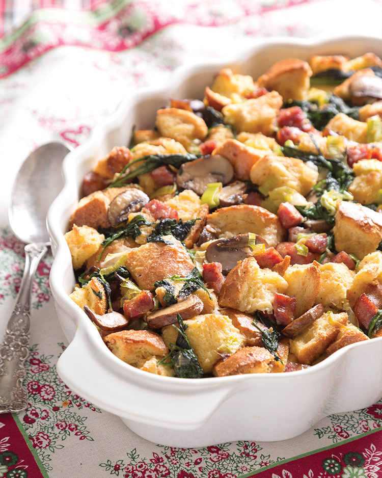 Breakfast Strata with Sausage, Spinach, and Leeks