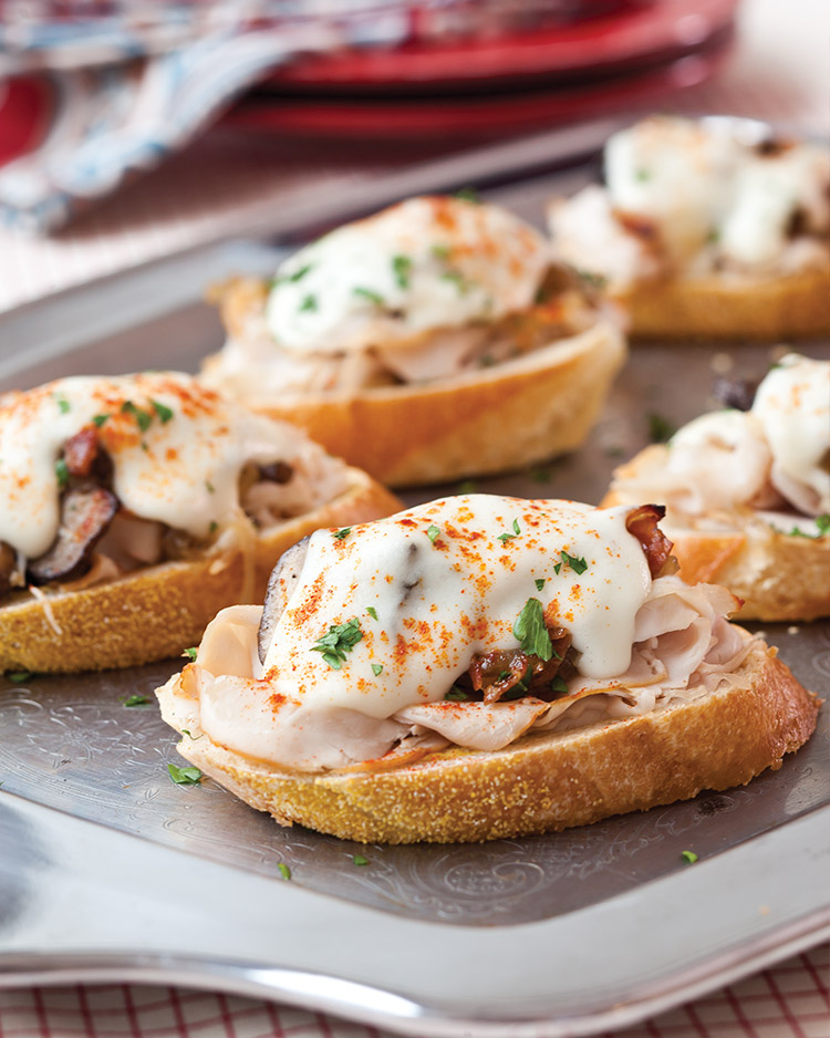 Enticing Holiday Appetizers Turkey Prosciutto and Mushroom Croque Monsieurs