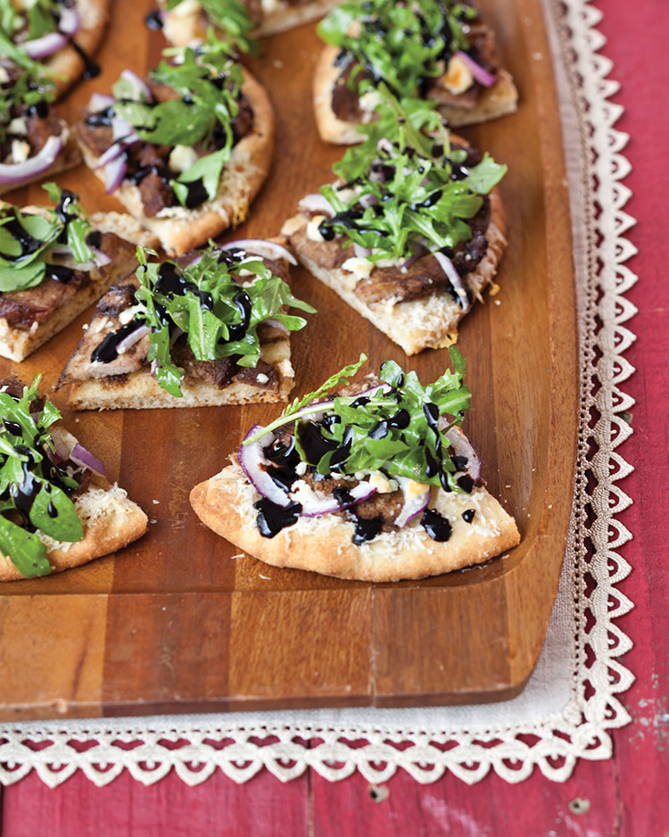 enticing holiday appetizers Balsamic Glazed Duck Flatbreads with Feta and Arugula