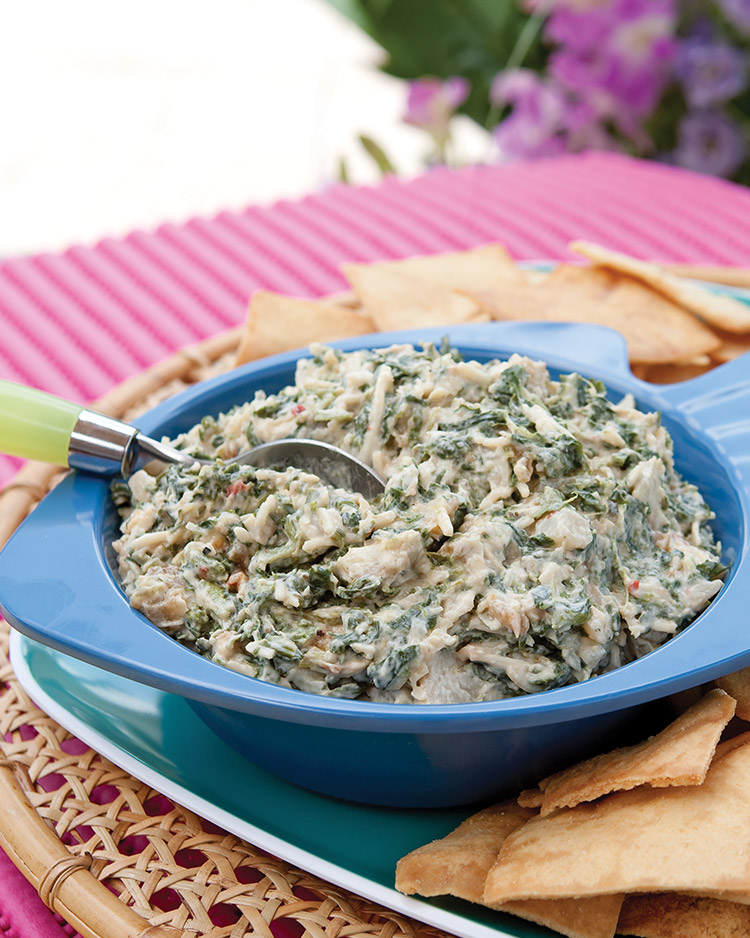 easy appetizers Caramelized Onion and Spinach Dip