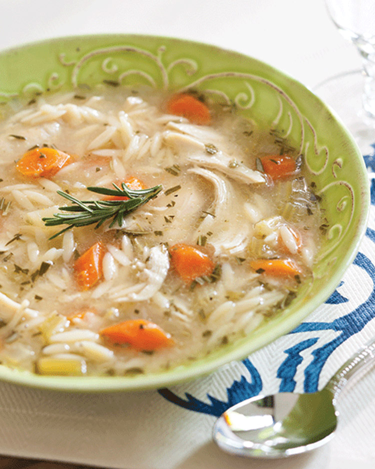 Chicken and Orzo Winter Soup with Rosemary