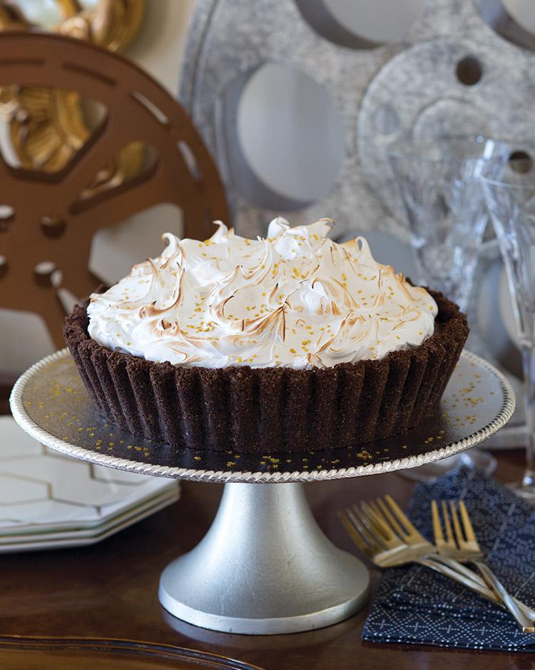 Black Bottom Chocolate Tart with Fluffy Meringue