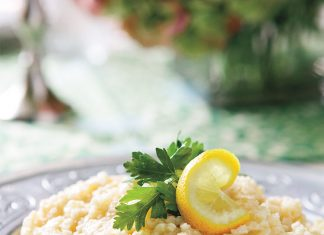 Lemon Rice with Spring Onions and Goat Cheese