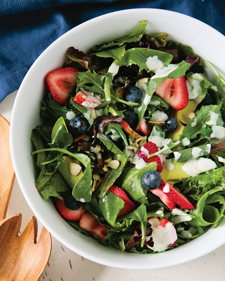 Strawberry-Blueberry Salad with Lime Yogurt Dressing