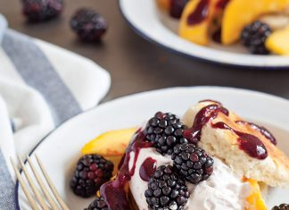 Basil Shortcakes with Peaches and Blueberries
