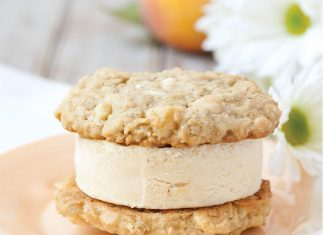 White Chocolate Macadamia and Peach Ice Cream Sandwich