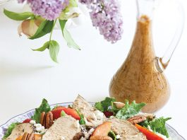 summer peach recipes Grilled Chicken Salad with Grilled Peach Vinaigrette