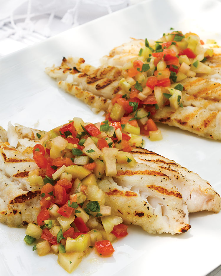 Set To Serve: Low Country Repast Grilled Fish with Tomato-Jalapeño Relish