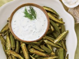 Set To Serve: Low Country Repast Roasted Okra with Buttermilk Herb Dipping Sauce