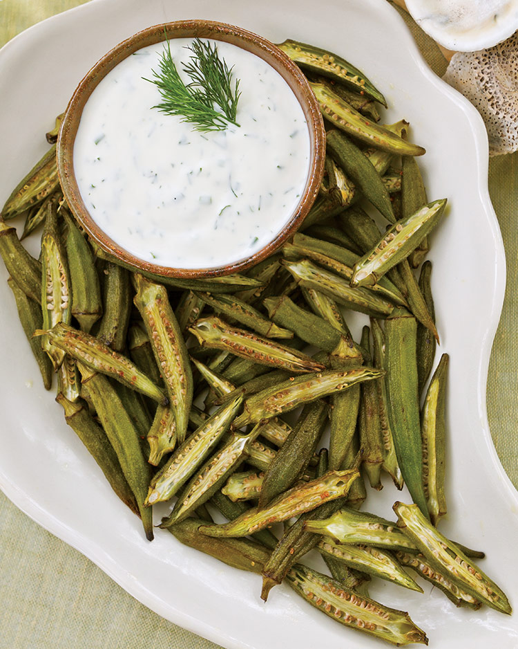 Roasted Okra with Buttermilk Herb Dipping Sauce