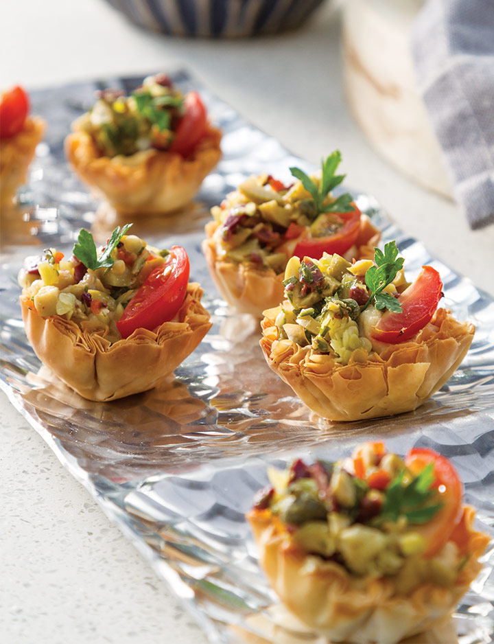 Hummus Bites with Olive Salad