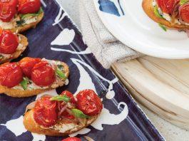 Roasted Tomatoes on Lemon-Basil Ricotta Crostini
