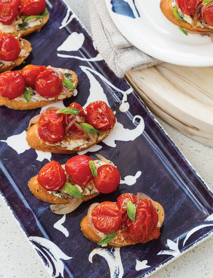 Roasted Tomatoes on Lemon-Basil Ricotta Crostini