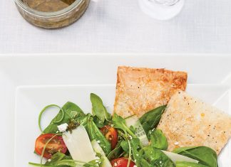 Spinach and Arugula Salad with Phyllo Croutons
