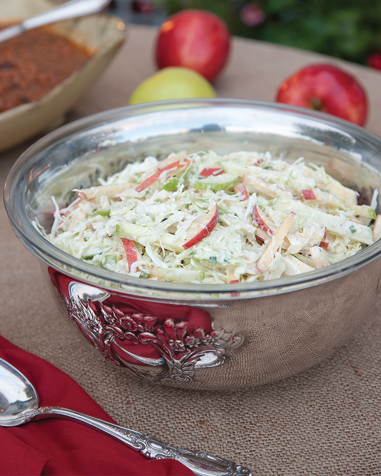 Apple Slaw with Chive Dressing and Manchego Cheese