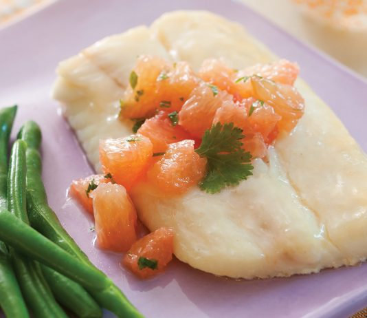 Grapefruit Baked Halibut