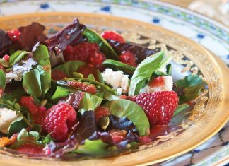 Romaine Salad with Raspberry Vinaigrette