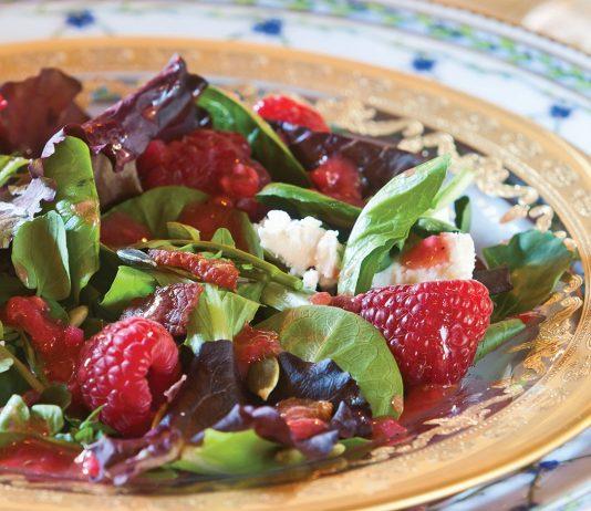Romaine Salad with Raspberry Vinaigrette