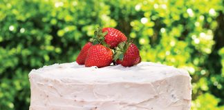 Vanilla Cake with Strawberry Icing