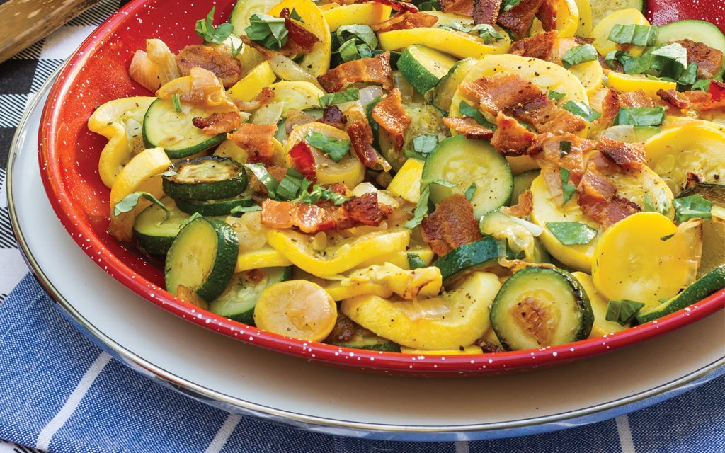 Skillet Summer Squash with Bacon and Basil