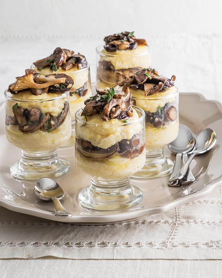 Browned Butter Mushroom and Cheese Grits Parfaits