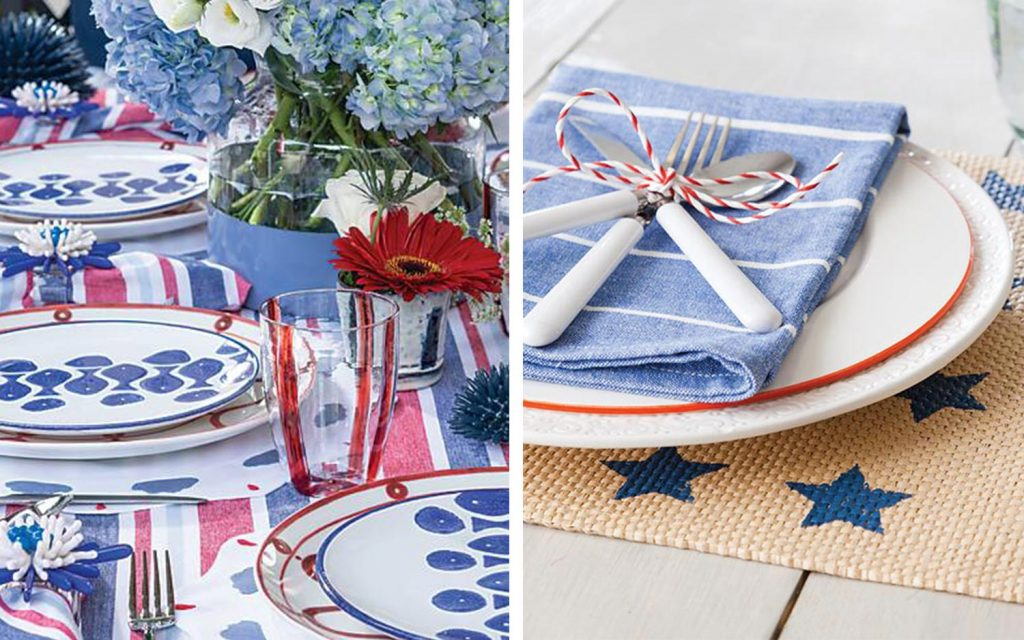 Festive Red, White, and Blue Table Settings
