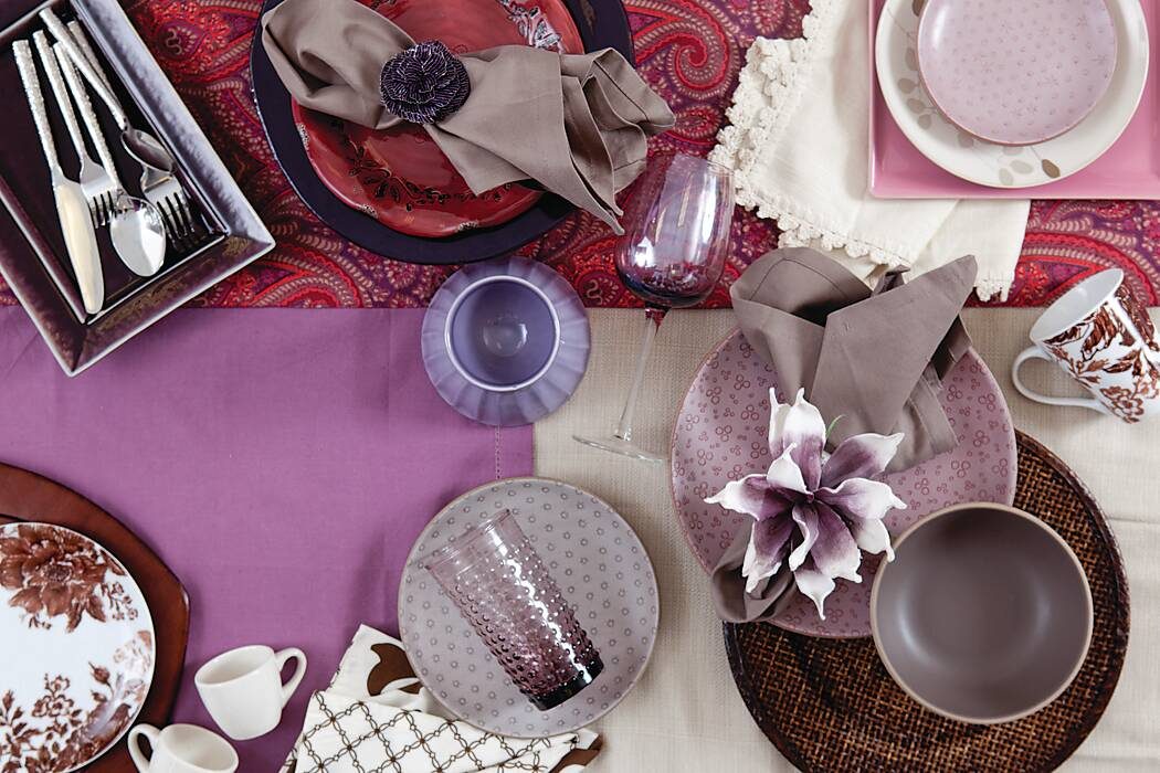 Playing with Purple & Brown Table Accents